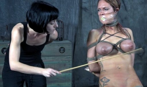 Rain DeGrey tied up and getting her boobs caned