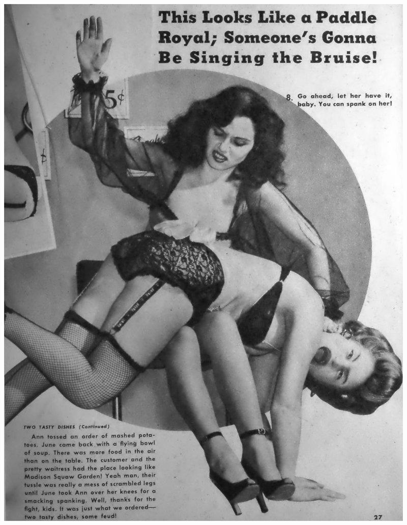 catfighting waitresses otk lingerie spanking