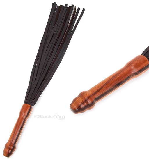 brown leather flogger