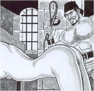 whipped in the cartoon dungeon and pillory