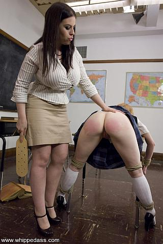 madison young gets a red ass from a schoolroom spanking