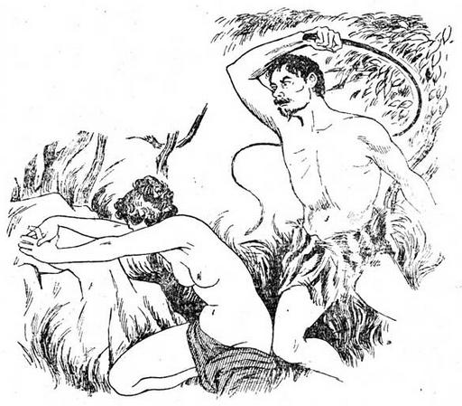man in a loin cloth whips his woman