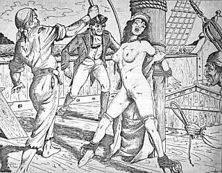 pretty nude female captive whipped by pirates