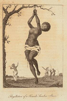 engraving of a half-naked female slave being whipped with her hands tied above her head