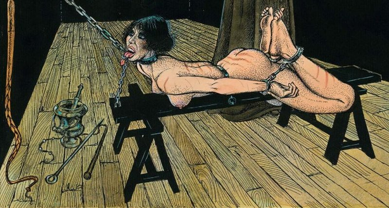 chained to a bench for a severe whipping
