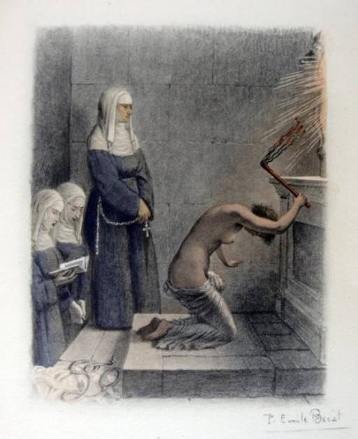 nude woman whips herself while watched by three stern nuns