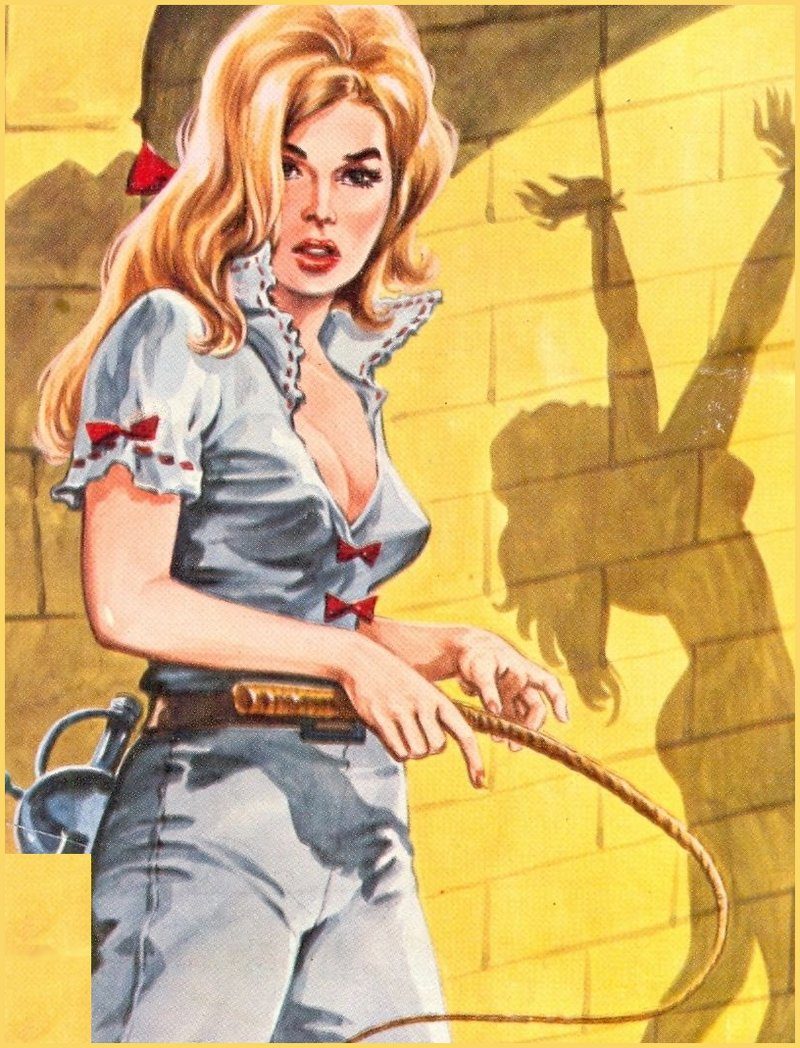 pulp cover art of woman with whip, shadow of whipped woman in chains on dungeon wall behind her
