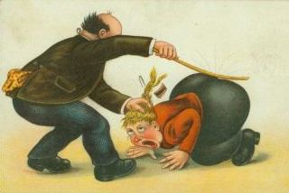 wife spanking postcard