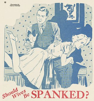 illustration for a wife spanking article from 1939
