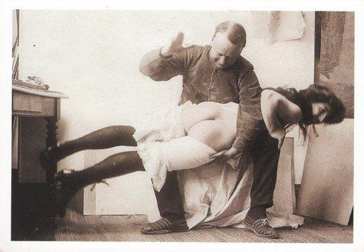 vintage otk wife-spanking postcard