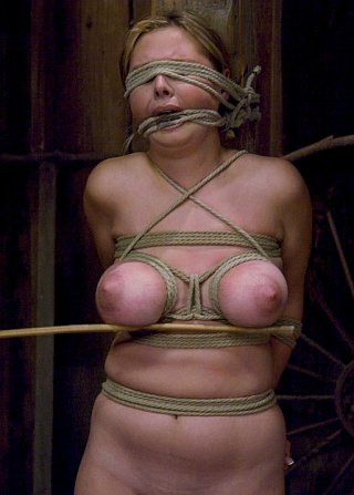 well tied boobies getting caned