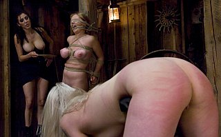 caned girls in a brutal lesbian sex dungeon