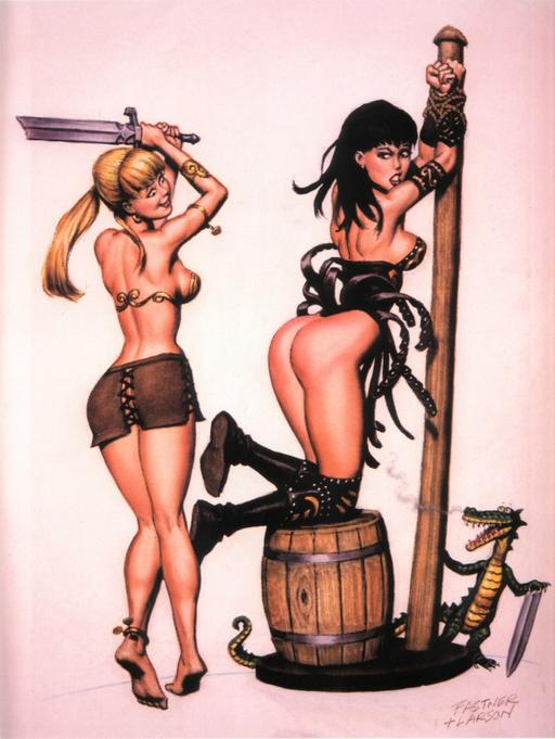 Xena spanked by Gabrielle with a broken sword