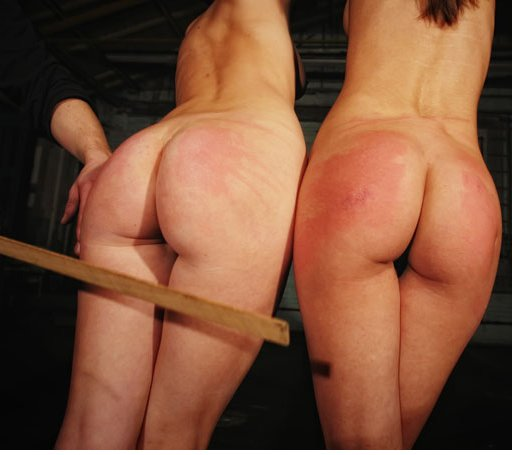 two girls tied and spanked hard with a wooden yardstick