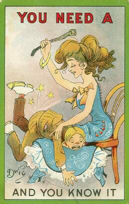 You need a spanking - comic postcard